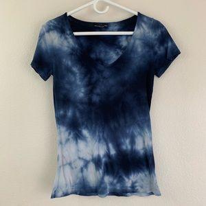 Brandy Melville Blue Tie-Dye V Neck T-Shirt Top